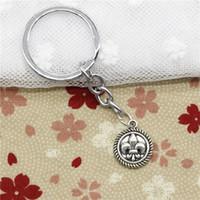 Wholesale Antique Fleur Lis - Wholesale New Fashion Women&Men 30mm Key Chain DIY Metal Holder Chain Vintage medal fleur de lis 15mm Antique Silver Pendant