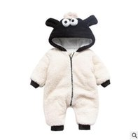 Wholesale Girls Size Outerwear - Winter Thick Long Sleeve Baby Sheep Romper Outfit Unisex Bebe Boy Girl Hooded Outerwear Jumpsuits Rompers Suit Baby Infant Toddler Clothing
