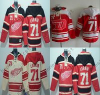 Wholesale Detroit Red Wing Sweatshirt - 2016 Detroit Red Wings Jersey 71 Dylan Larkin Hoodie Hockey Hoodie Men's Stiched Hoodies Hockey Jersey Sweatshirt