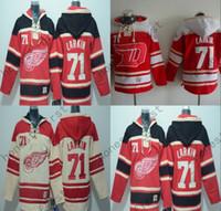 jersey de la sudadera con capucha del hockey de detroit al por mayor-2016 Detroit Red Wings Jersey 71 Dylan Larkin sudadera con capucha Hockey Hoodie sudadera con capucha hombre Hockey Jersey sudadera