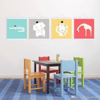 Wholesale Pop Nature - Mild Art Nature Kings Of Forest Square Set Handpainted Cartoon Cute Animals Pop Poster Prints Kids Room Home Wall Decor Gift Canvas Painting