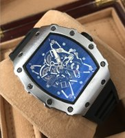 Wholesale Silicone Flower Watch - new fashion man watch hot luxury watch hollow flower ghost head empty silicone tape quartz mens watch