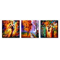 дождь оптовых-Amosi Art - 3 современные абстрактные стены искусства женщина, идущая под дождем картины печать на холсте абстрактные картины для домашнего декора (деревянная рама)