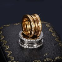 Wholesale Men Metal Stainless Steel - Luxury Titanium Stainless Steel Elastic Multiwall Rhinestone Rings, Yellow Gold  Rose Gold  Silver Metal Colors Women Men Wedding Jewelry