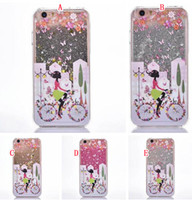 Wholesale Skins Pretty - Magical Liquid Glitter Quicksand Hard Case For Iphone 6S 6 Plus 4.7 5.5 inch SE 5 5S Bike Pretty Girl Skin Cover Butterfly Flower 60pcs