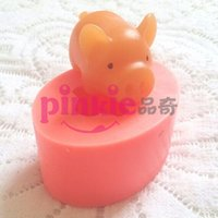 Wholesale Pig Soap Mold - New Pig annimal shaped silicone soap mold form for soap Clay mold Salt carving mould wholesale