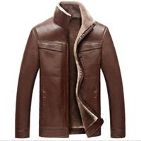 Wholesale Men S Leather Parkas - Fall-Thick Winter Motorcycle Leather Jacket Men Fashion 2016 Bomber Jacket Male Coat Casual Parka Men Chaquetas De Cuero Hombre