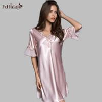 Wholesale Ladies Negligees - Wholesale- Fdfklak 2017 Summer New Ladies Sleepwear Nighties Sexy Silk Nightgowns Female Plus Size Women Nightdress Negligees M-XXL E0851