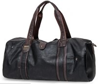 Wholesale Soccer Bag Leather - Newest Fashion Vintage PU Leather Weekend Travel Hiking Camp Sports Luggage Duffle Hand Bag Handbags Shoulder Bag daypack