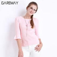 Wholesale Moda Casual Mujer - Blouses Summer Pink Top Slim Knitted Butterfly Sleeve Blusas Mujer O Neck Clothing For Women Half Sleeve Moda Feminina GAREMAY
