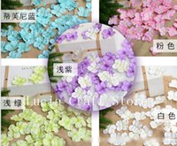 Wholesale Purple Flower Confetti - Wholesale-20g lot 4.7cm Artificial Hydrangea Flower Petals Handmade Wedding Decoration Event Party Supplies Confetti Wreaths 027017037