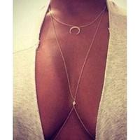 Wholesale Belly Cross - Wholesale- Women's Moon Belly Waist Cross Body Harness Chain Necklace Bikini Body Jewelry 6Y2U