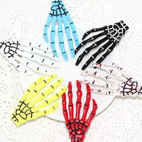 Wholesale Creepy Cute - Wholesale-10pcs Women 2016 new Girls Cute Creepy Plastic Skeleton skull hands Hair Clip Hairpin free shipping