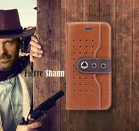 fundas iphone vaquero al por mayor-2016 NUEVA Moda Cowboy Hebilla Soporte para Teléfono Móvil Soporte Funda de Cuero de Alta Calidad Funda para iPhone 6 6s 4.7