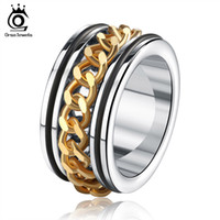 Wholesale Cool Male Gold Rings - Men's Ring Jewelry Wholesale Stainless Steel Ring with Gold Plated Chain Decorated Male Cool Party Jewelry GTR16