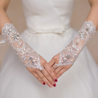 Wholesale Wedding Gloves Fingerless - 2017 Luxury Short Lace Bride Bridal Gloves Wedding Gloves Crystals Wedding Accessories Lace Gloves for Brides Fingerless Below Elbow Length