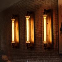 endüstriyel stil aydınlatma kolye toptan satış-Eski eserler Vintage Stil Loft Endüstriyel Vintage Edison Duvar Işık Lambası çubuğu resturent Kolye Lambaları tavan Avize Işık