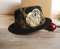 Wholesale Victorian Top Hat Men - Wholesale-Mini Steampunk Victorian Top Hat and Gears Cogs Chains Hats Hair Clip Costume Accessory For Men Women