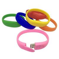 Wholesale Drive Write - Silicone Bracelet Wrist USB Flash Drives High Read Write Speed USB 2.0 Real 2GB 4GB 8GB 16GB Colorful USB Memory Stick