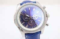 Wholesale New Auto Net - Luxury Brand Blue Dial Net Bezel Full Function Mens Quartz Movement 6.75 Supper Quality Men Chronograph Leather Belt Watches Wristwatch