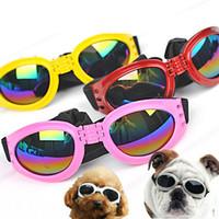 dog sunglasses toptan satış-Katlanabilir Pet Köpek Güneş Gözlüğü Orta Büyük Köpek Gözlük Büyük Pet Gözlük Su Geçirmez Köpek Koruma Gözlüğü UV Güneş Gözlüğü
