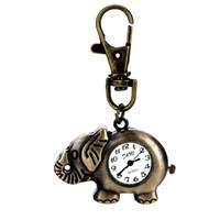 Wholesale Stainless Steel Elephant Antique - Wholesale-2015 New Arrival Creative Vantage Style cute Pocket Watch Quartz Watch Elephant Shape&Key Chain HM693W