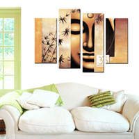 Wholesale modern buddha oil painting - Modern Buddha Paintings 4 Panel Canvas Art Form Printing Modern Canvas Oil Paintings for Home Art Decoration Wall Art Pictures For living