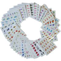 nagel überträgt abziehbilder großhandel-50sheets Beauty Designs Wassertransfer Nail Art Sticker Decals NEUE Blume DIY Französisch Tipps Nagel Decals Mixed Styles