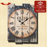 Wholesale Coffee Wall Clock - Free Shipping 30*40CM Modern Designed Craft Retro Vintage Rustic Wall Clock Shabby Chic Home Coffee Shop Bar Decor(24pcs lot)