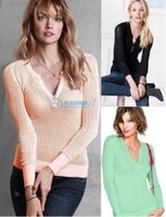 Wholesale Thin Lace Sweater - Wholesale-fashion women pullover Victoria brand vs 2014 spring autumn winter lace V-neck pullover slim cutout sweater basic shirt thin
