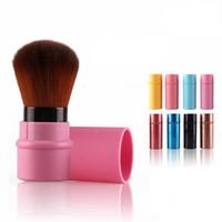 Wholesale retractable blusher brush - New Makeup Tools Pro Retractable Makeup Blush Brush Powder Cosmetic Face Power Brush Kabuki Brush 8 Colors 50pcs DHL free ship