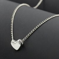 Wholesale Tiny Love Heart Pendant - Women necklace Jewelry Stainless Steel Chain Necklace silver Gold Color Dainty Tiny Heart Shaped Necklaces Pendants