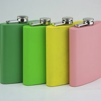 Wholesale Wholesale Flask Personalized - mixed Colored stainless steel 7oz hip flask ,4 color can be choose ,personalized logo accept