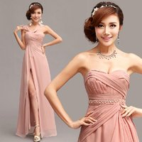 Wholesale Long Maxi Evening Skirts - Cheap Bridesmaid Dresses Blush Column Long Chiffon Prom Dresses Bridesmaid Maxi Skirt Evening Party Gowns Mixed Styles For One Wedding Party