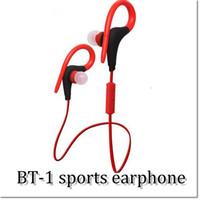 hücre kancası toptan satış-Yeni Bluetooh Kablosuz spor stereo Kulaklık Kulaklık kulak-kanca BT-1 4.0 perakende kutusu ile Cep telefonu için Ücretsiz kargo DHL tarafından
