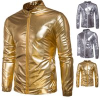 Wholesale Thin Motorcycle Jacket - New Arrival Fashion Nightclubs Jacket Gold Silver Cool Motorcycle Street Style Outerwear Zipper Jackets for Men