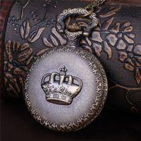 Wholesale Crown Pocket Watch - Antique Crown Pocket Watches Pendant Bronze Relief Crown Round Fob Watch Quartz Watch Locket Necklaces women Christmas jewelry Gift 230227