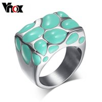 Wholesale Rings Large Stones - Vnox Fashion Multicolor Large Enamel Rings for Women Stainless Steel Wedding Party Rings Jewelry Christmas Gifts