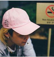 Wholesale Designer Hat Caps - Designer Anti Social Social Club Snapback Baseball Skull Fitted Caps Adjustable For Adults Men Amp Womens Cotton Fashion Hat Pink Black Blue