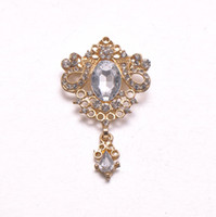Wholesale Gold Rose Brooch Pin - (L0333) 32mmX50mm free shipping wholesale 10pcs lot, rhinestone brooch with pin at back,silver or rose gold plating