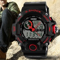 Atacado-2015 novo outdoor Design Homens Waterproof Alarme Digital LED Backlight Cronômetro Sports Rubber relógio de pulso 5ETL