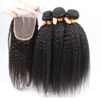 Wholesale Dyable Hair - 8A Malaysian Kinky Straight Hair With Closure,Coarse Yaki With Closure Human Hair Weaves With Closures 4pcs Lot Dyable Free Shipping