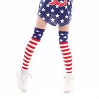 ingrosso gamba di bandiera-DHL Girls 4th of July Calze americane per bandiera Le donne adulte stars hanno barrato sopra il ginocchio Jazz che balla i calzini di hiphop che legano lo scaldino Il trasporto libero E1052