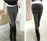 Wholesale Two Leg Color Leggings - Women skirt legging Pants Mini Skirt Warm False Two Pieces leggings shiny leggings spring autumn 2 In 1 Pants For Women