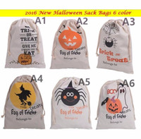 Wholesale Spider Woman Hot - 2016 hot sale 6 style Halloween Large Canvas bags cotton Drawstring Bag With Pumpkin Devil Spider Hallowmas Gifts Sack Bags 36*48cm DHL Free