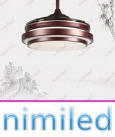 Wholesale Chinese Ceiling Lights - nimi939 32 36 42 Inches American Invisible Ceiling Lights Fan Stealth Mute LED Chinese Restaurant Retro Light Dinning Room Acrylic Lighting
