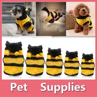 Wholesale Bee Dog Clothes - Pet Hoodie Clothes Cute Puppy Apparel Costume Cat Dog Winter Coat Outfit Bee Supplies 5 Size XS-XL