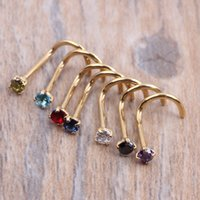 Wholesale Agate Pin - Crysta Gold Silver Zircon Nose Ring Screw Nose Stud Clear Pink Red Purple CURVED STEEL PIN RING PIERCING 20G 0.8mm