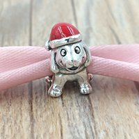 Wholesale Bead Puppy - Christmas 925 Sterling Silver Beads Christmas Puppy Charm Fits European Pandora Style Jewelry Bracelets & Necklace 791769EN39