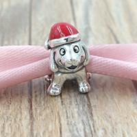 Wholesale pandora rhodium plated bracelet online - Christmas Sterling Silver Beads Christmas Puppy Charm Fits European Pandora Style Jewelry Bracelets Necklace EN39